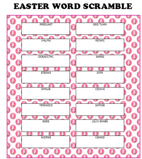 Printable Easter Word Games For Adults | easter activities free printables party ideas recipes