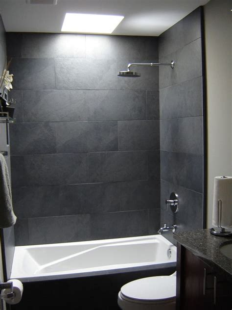 Gray tile bathroom shower grey stone tile bathroom wall along with steel shower heads and