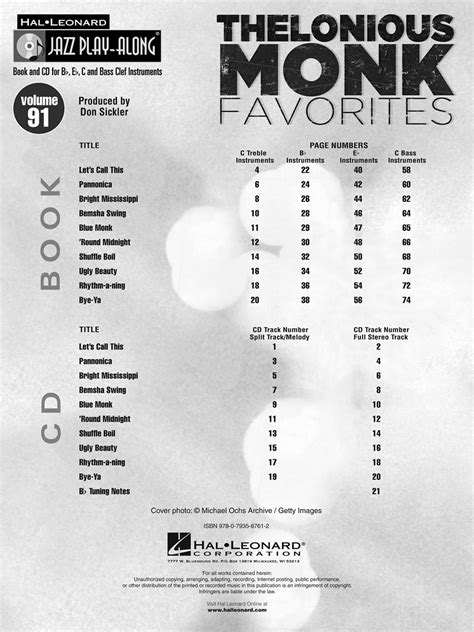 thelonious monk bemsha swing thelonious monk favorites jazz play along volume 91