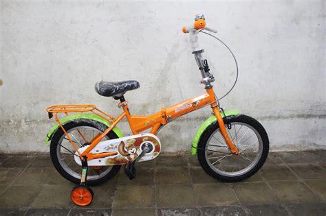 Garpu Sepeda Anak Ukuran 12 jual sepeda lipat evergreen type 116 ukuran 16 warna orange untuk anak anak cung bikes