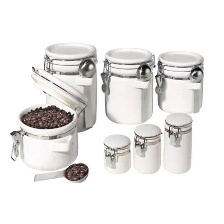 oggi 7 ceramic airtight canister set white