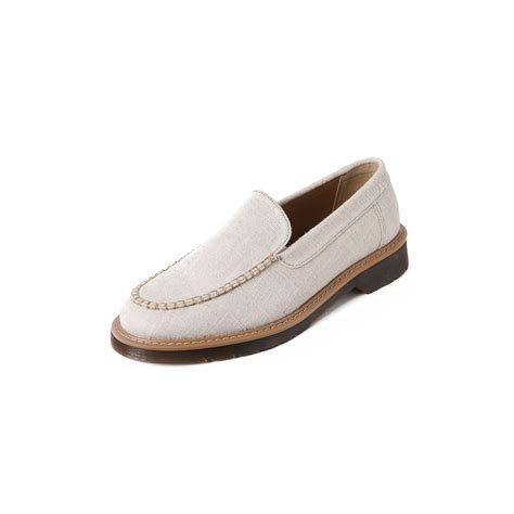 beige loafers mens s synthetic fabric rubber sole navy beige casual loafers
