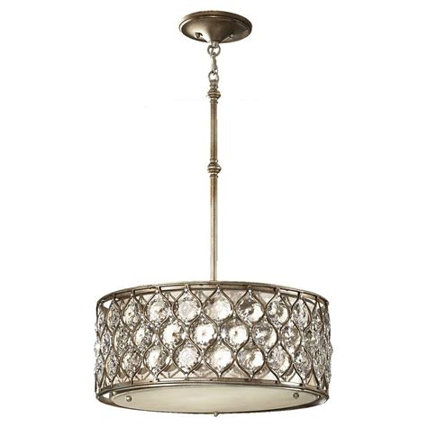Silver Pendant Light Fixtures Feiss Lucia 3 Light Burnished Silver Large Pendant F2568 3bus The Home Depot