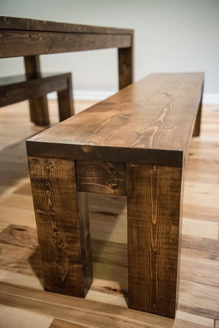 modern rustic farmhouse dining room table and bench set