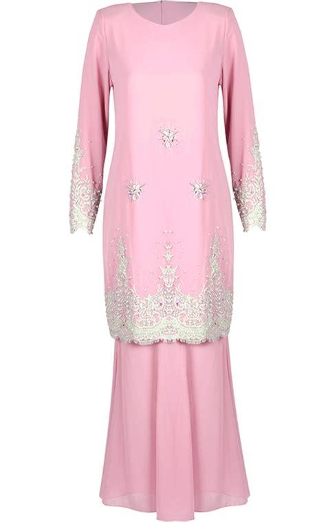 Baju Baju baju kurung crepe femina light pink baju kurung