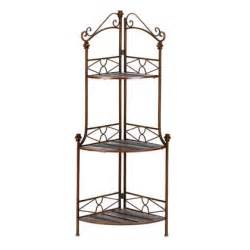Metal Corner Bakers Rack New Corner Metal Wood 3 Shelf Bakers Rack Plant Stand 47