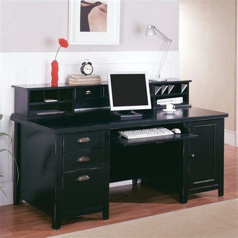 Black Computer Desk With Hutch by Martin Furniture Tribeca Loft Pedestal Wood Computer Desk With Hutch In Black