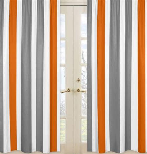 orange gray curtains white orange and gray stripe 84 inch curtain panel pair