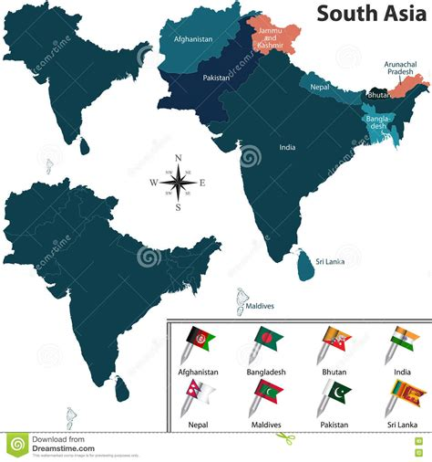 map of south asia political political map of south asia stock photo image of
