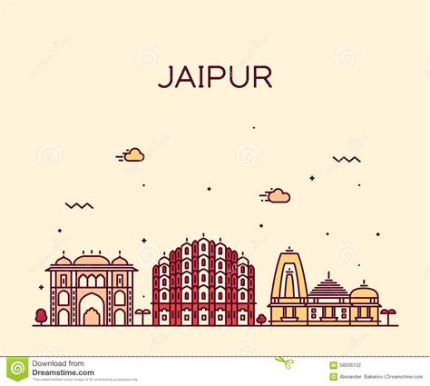 poster design in jaipur jaipur skyline trendy vector illustration linear stock