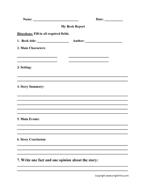 report book report template