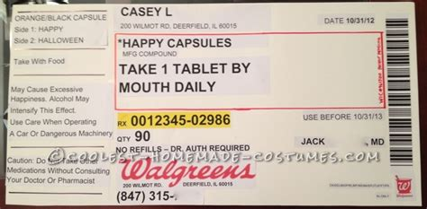 Original Homemade Prescription Bottle Costume Prescription Label Template
