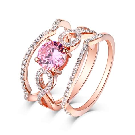 Set Goyang Silver Pink cut pink sapphire gold 925 sterling silver 3 ring sets lajerrio jewelry