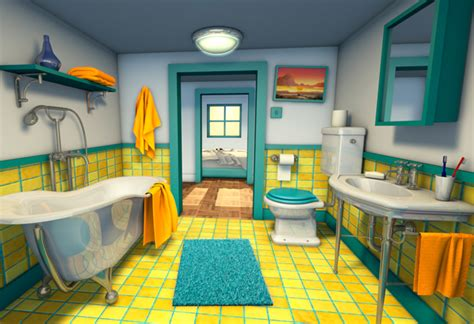 cartoon picture of bathroom 3d cartoon backgrounds freelance 3d character design
