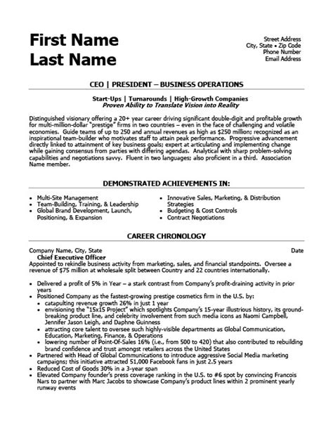 ceo resume template ceo president resume template premium resume sles