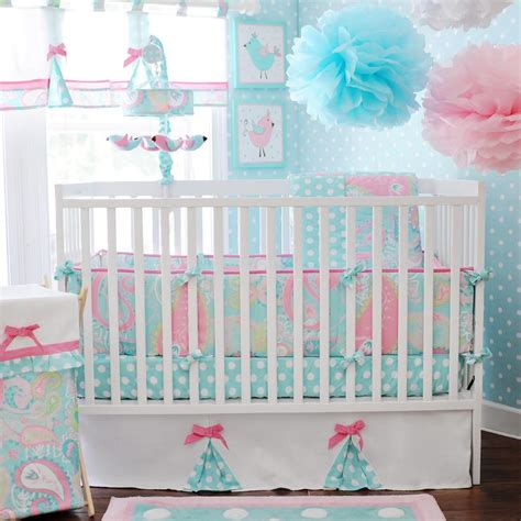 pink baby bedding crib sets aqua and pink crib bedding