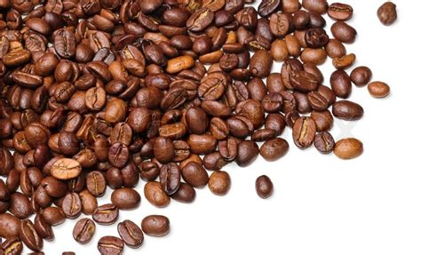 Papa Bean White Coffee background in the form of a handful of coffee beans on