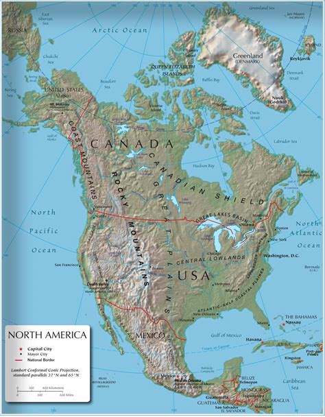 physical map of america america mountains map