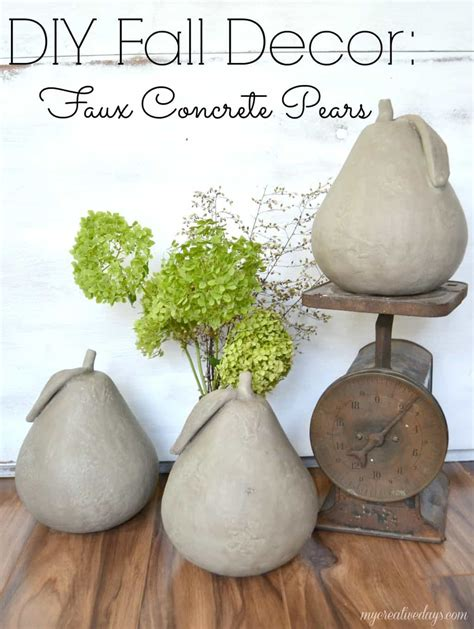 concrete decor diy fall decor faux concrete pears my creative days