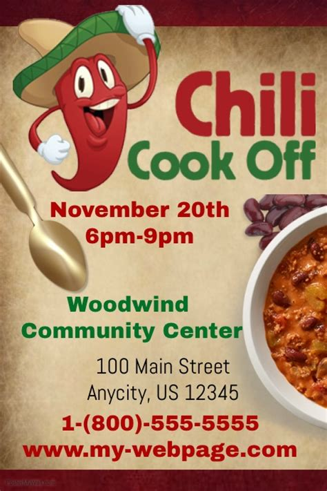 chili cook template free chili cook contest template postermywall