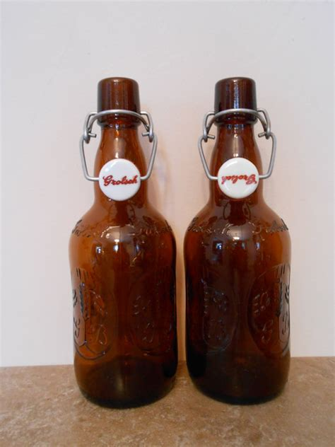 swing top beer vintage grolsch amber swing top beer bottles by hillsdesign