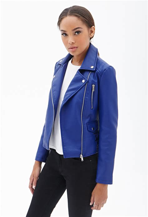 blue motorcycle jacket forever 21 faux leather moto jacket in blue lyst