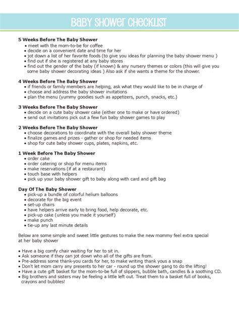 Baby Shower To Do List by Baby Shower To Do List Sle Free