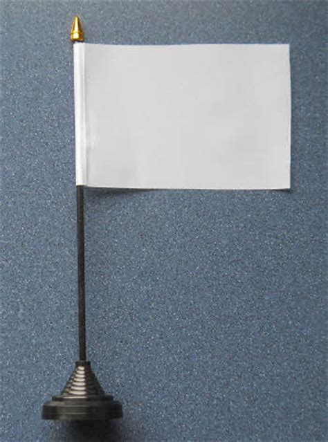 plain white desk table flag with plastic stand and base