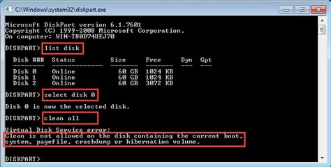 diskpart format access is denied wipe disk diskpart