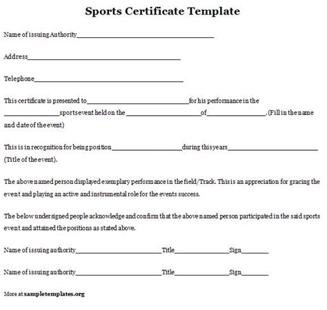 sport certificate template sports certificate sle of sports certificate template