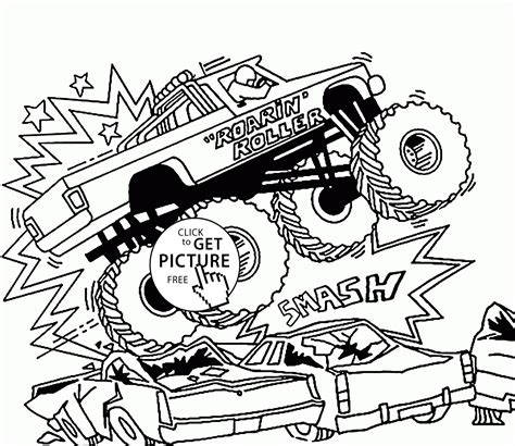 monster truck jam videos for kids smashing jam monster truck coloring page for kids