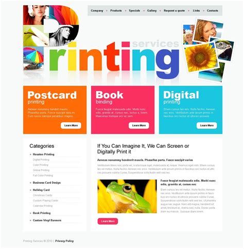 print shop template print shop website template web design templates