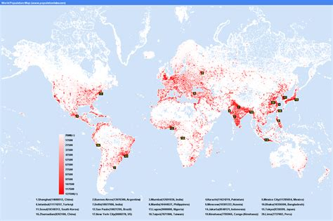 world population city density map most populated cities in the world images frompo