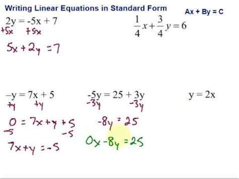 writing linear equations in standard form