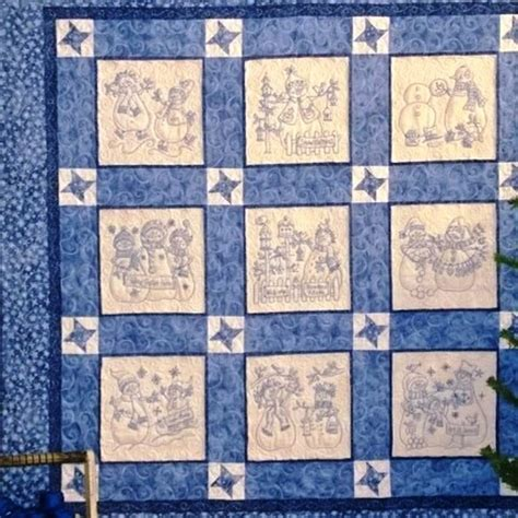 Embroidery Quilt Patterns by Lots Of Friendly Snowmen In 9 Quilt Blocks Set With