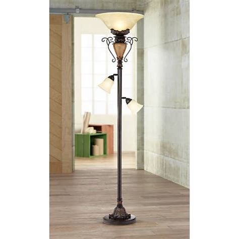 traditional bronze crackle   tree torchiere floor lamp  lamps