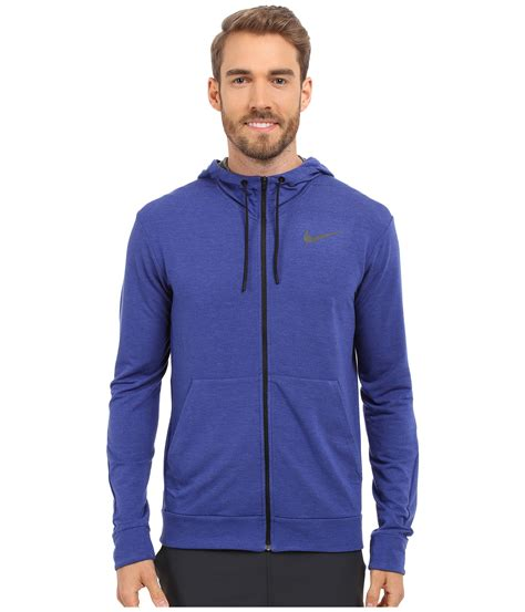 Hoodie Zipper Sweater Ufc Trainer lyst nike dri fit fleece zip hoodie in blue for