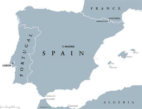 porto della spagna mappa politica della spagna e portogallo illustrazione
