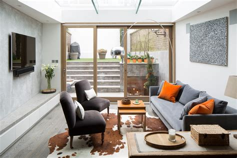 living room terrace chelsea terrace house with basement contemporary living room by peek architecture