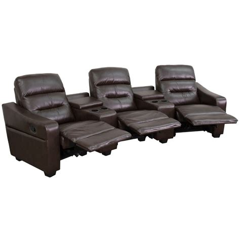 reclining home theater seating 3 seat leather reclining home theater seating in brown
