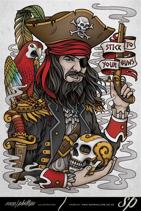tattoo flash by sam phillips stick to your guns pirate tee design by sam phillips nz on