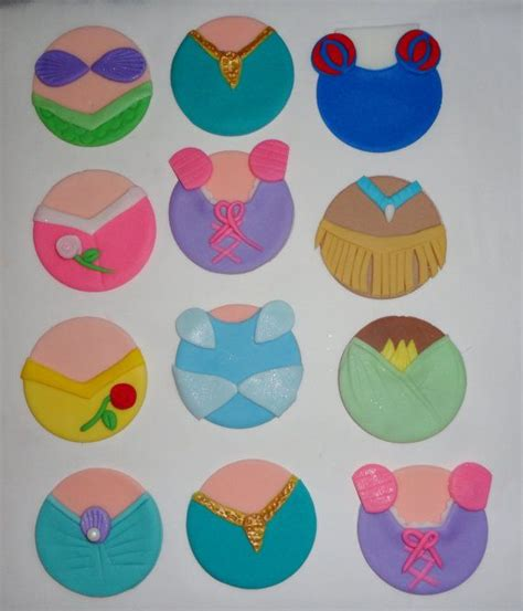 12 edible fondant disney princess dresses inspired cupcake toppers disney princesses and