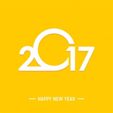 happy new year 2017 yellow background vector free download