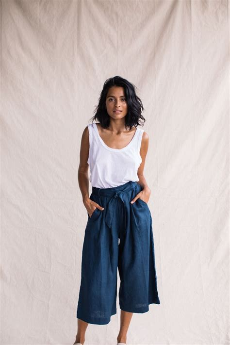43618 Navy Vogue Cullotes a sleek yet comfortable style our navy culottes are made from 100 linen and feature a pleated