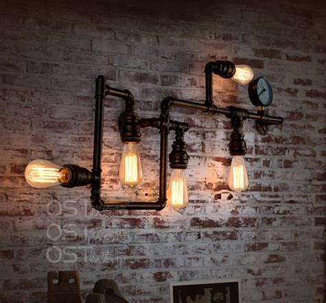 vintage industrial home decor aliexpress buy american vintage industrial water pipe wall l inon lshade sconce bar