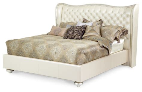 cream tufted bed cream pearl tufted platform bed by aico california king