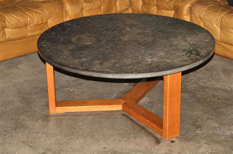 mid century limestone coffee table with fossils