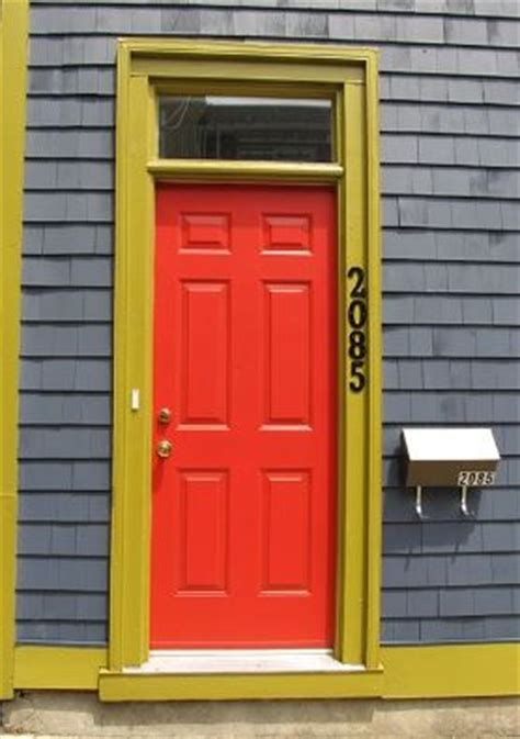 front door mustard green yellow trim and grey mauve weatherboard colour i this