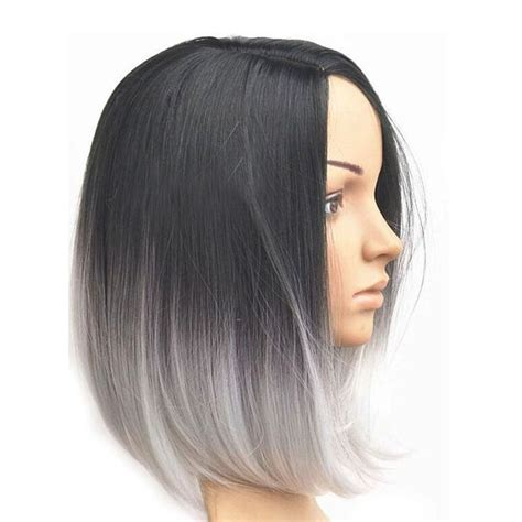 ladies new fashion trend alert grey hair weave is the new fad in women s ombre grey style short bob synthetic hair lace