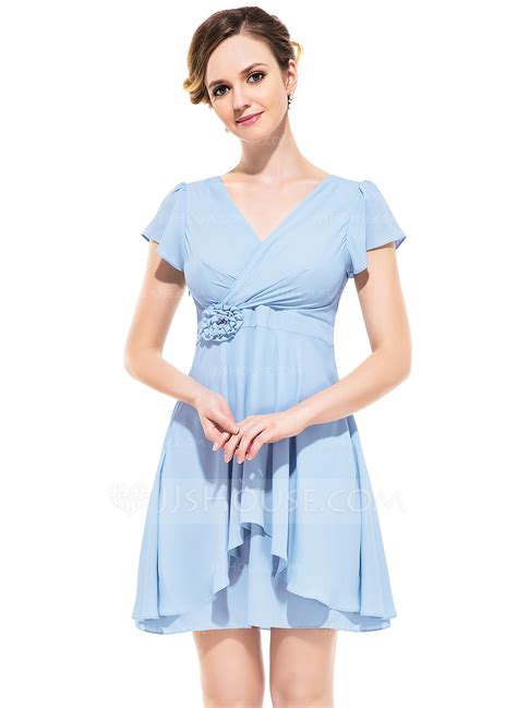 a linie herzausschnitt kurz mini chiffon brautjungfernkleid mit gefaltet p601 a linie princess linie v ausschnitt kurz mini chiffon